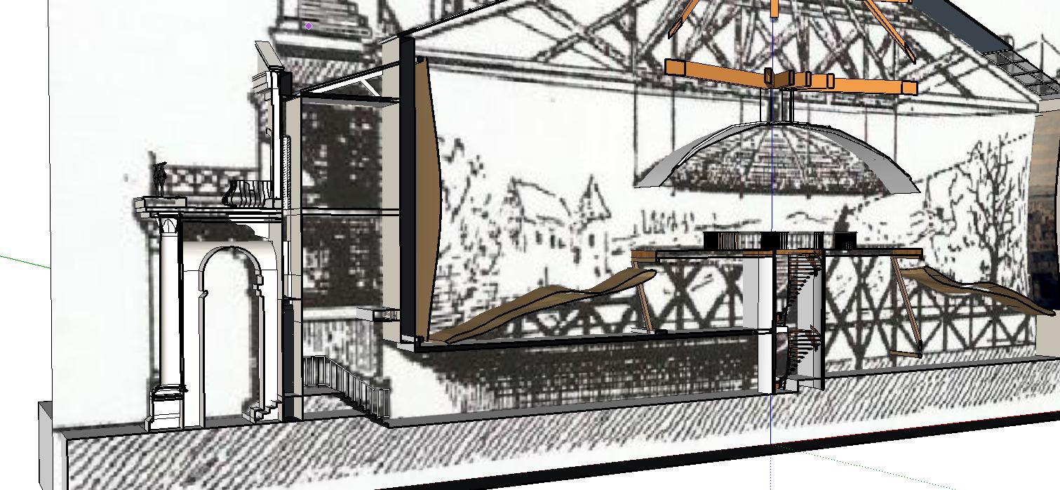 Coupe du couloir, superposition de la 3D et de la planche de référence - ill. Lescop - 2016