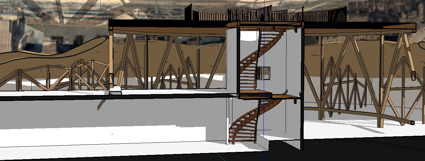 Coupe sur le cylindre de l'escalier, détail de la fenêtre. - ill.Lescop – 2016