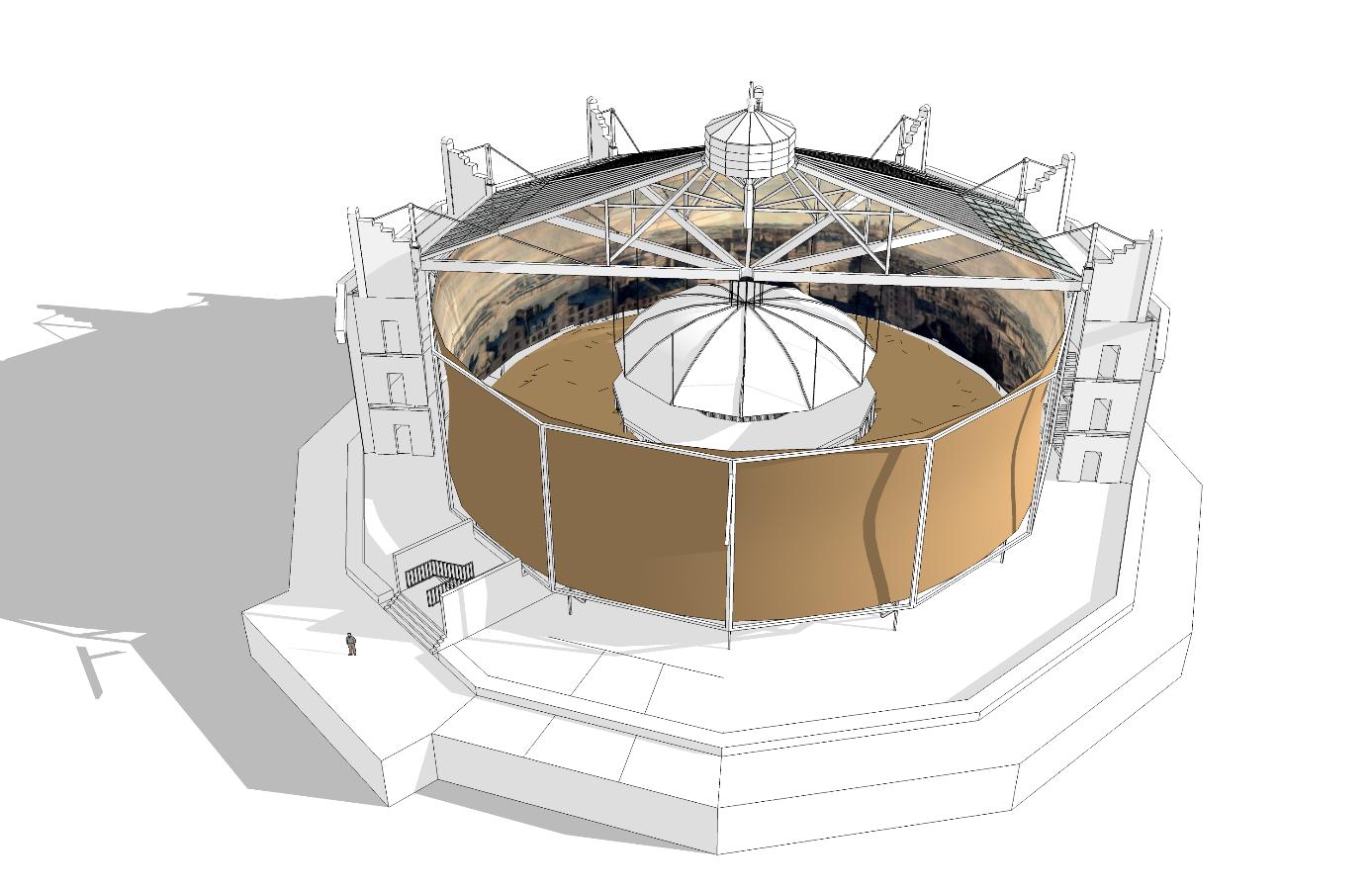 Coupe de la rotonde, toile et structure - ill.Lescop - 2016